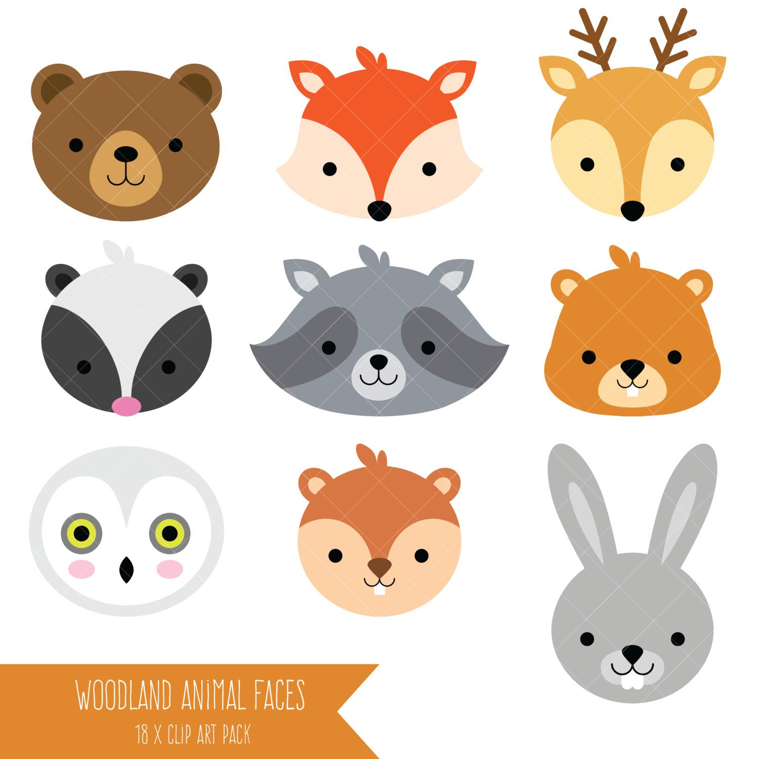 Woodland Animal Faces Clipart / Photo Booth Masks / Baby Shower.
