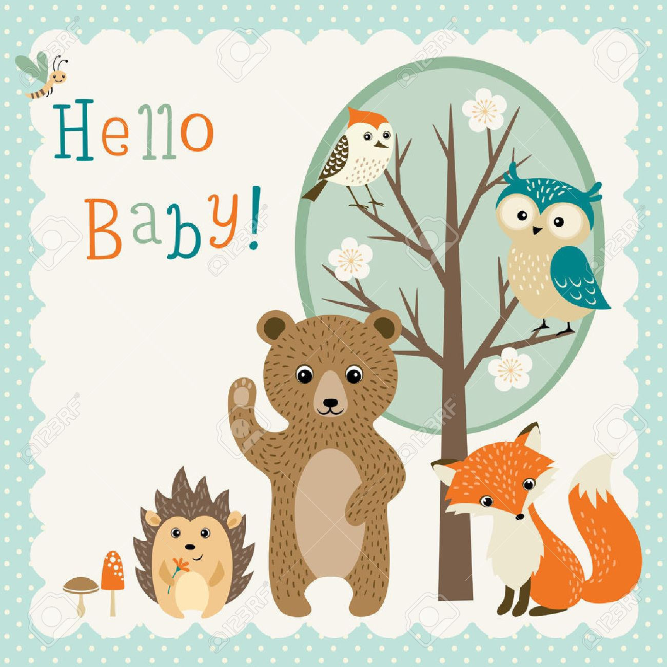 Baby shower design with cute woodland animals..