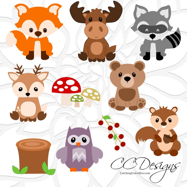Woodland Animal SVG Set, Cute Baby Forest Animals Clip Art, Fox SVG Cut  File, Moose Cut File, Deer Svg, Woodland Nursery, Baby Shower.
