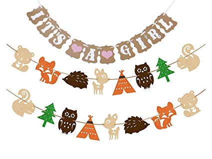 Woodland Creatures Banner & It\'s a Girl Banner Forest Animal Friends Party  Supplies Banner Baby Shower Party Decorations Birthday Party Favors Photo.