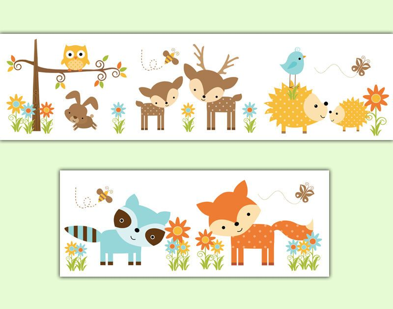 Details about Woodland Nursery Decal Wallpaper Border Forest.
