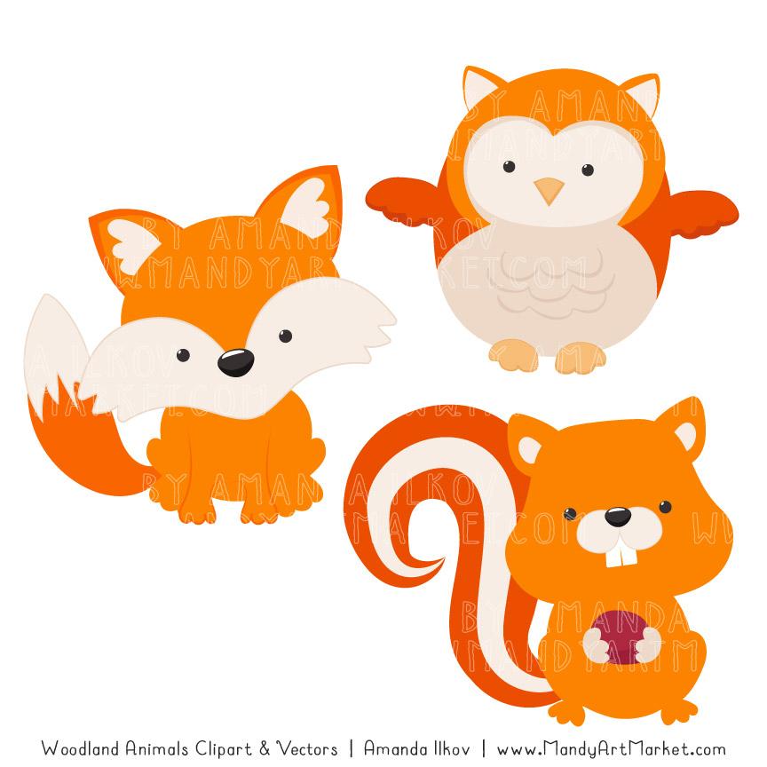 Orange Woodland Animals Clipart.