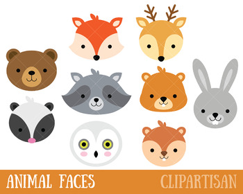 Woodland Animals Clip Art, Forest Animal Masks by ClipArtisan.