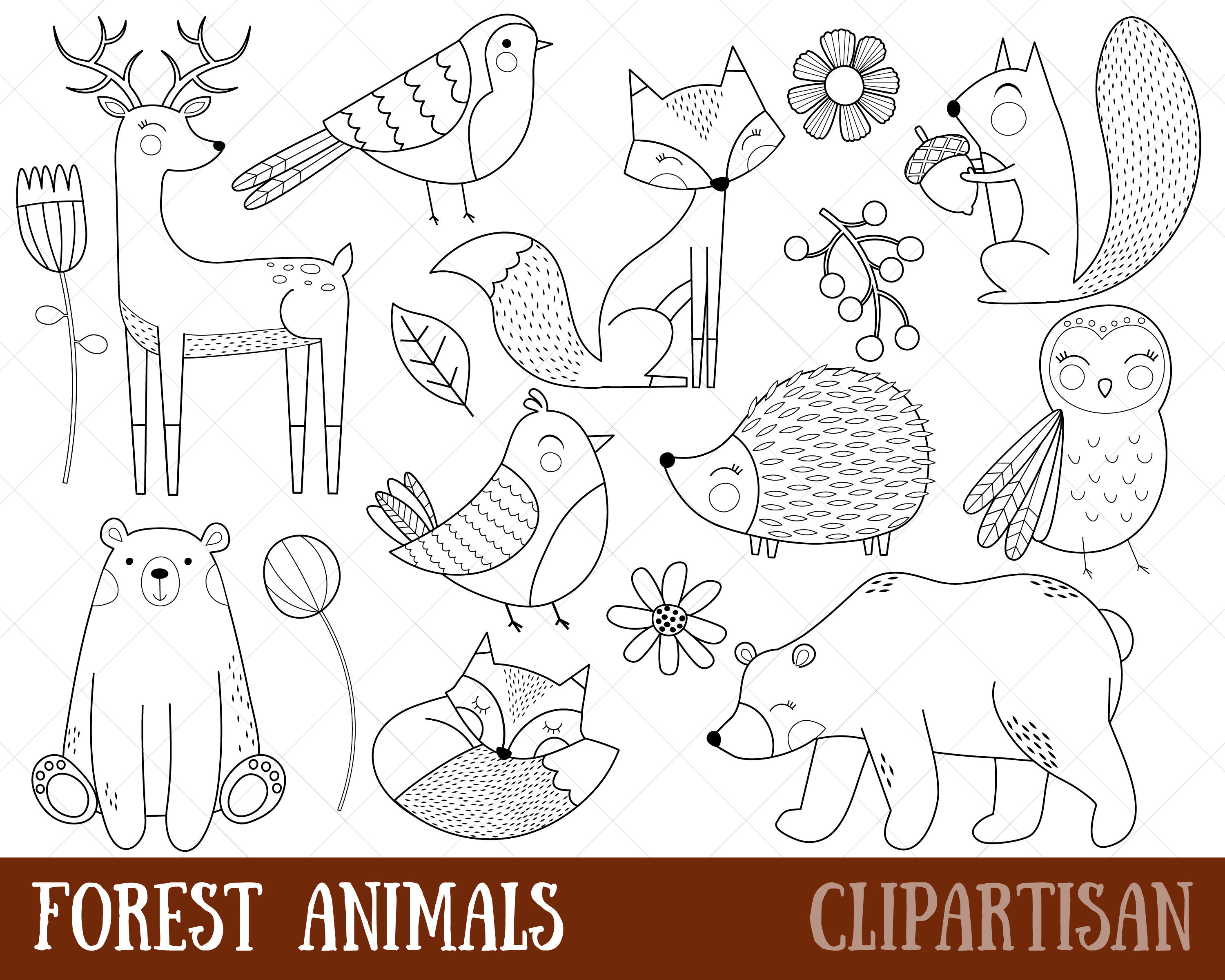 Woodland Animals Clipart Digital Stamps.