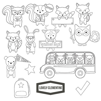 woodland animals clip art black and white 10 free Cliparts ...