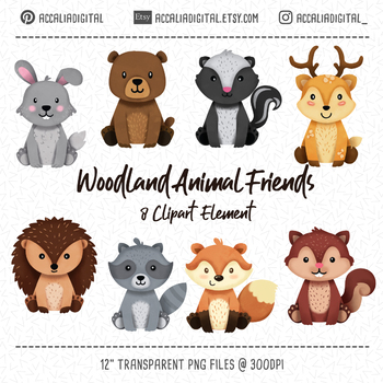 Woodland animals Clipart, Fox Deer hedhog Clipart and digital images.