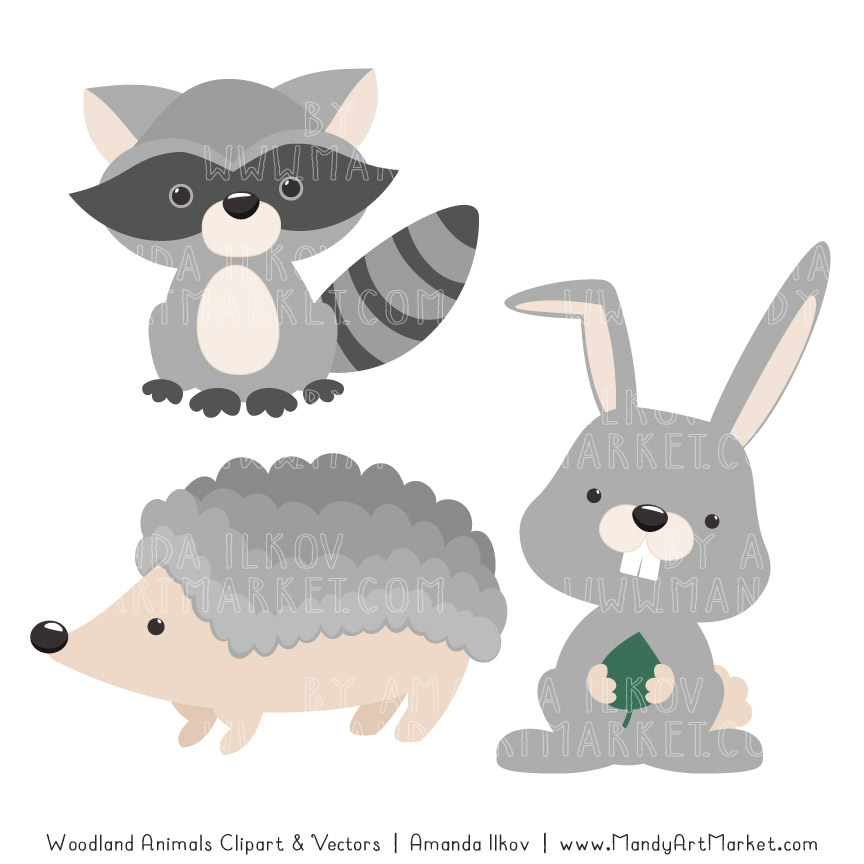 Grey Woodland Animals Clipart.
