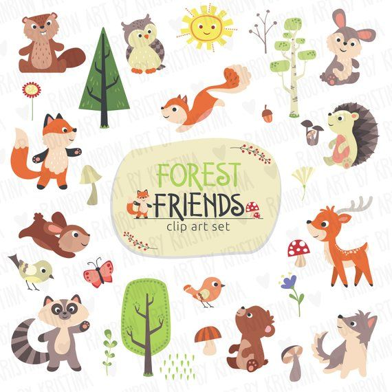 Cute Baby Woodland Animals, Transparent Background Clip Art.