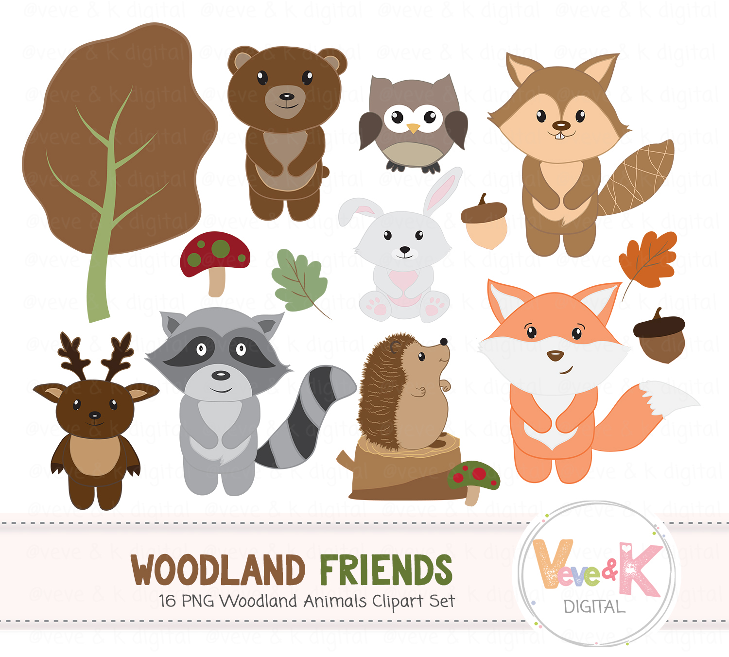 Woodland Animals Clipart Set, Woodland Creature Clipart, Forest Animals  Clipart, Woodland Critters, Fox racoon deer, Forest Critters.