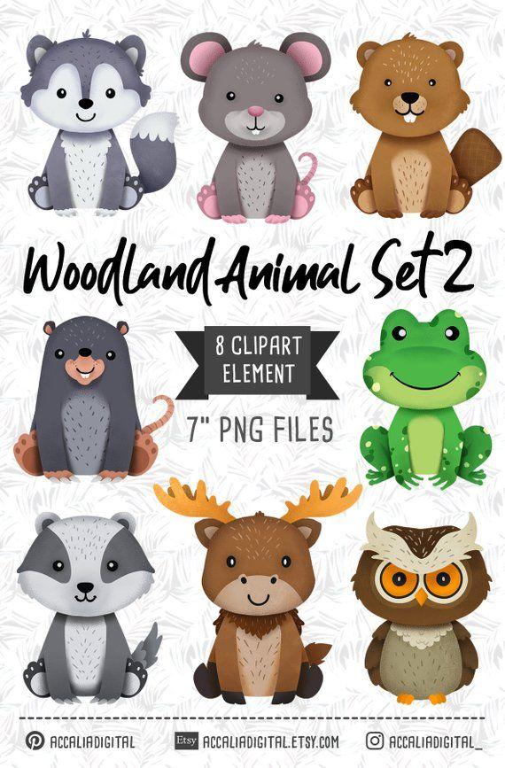 Woodland animals Clipart, owl, wolf, Forest Friends sticker.