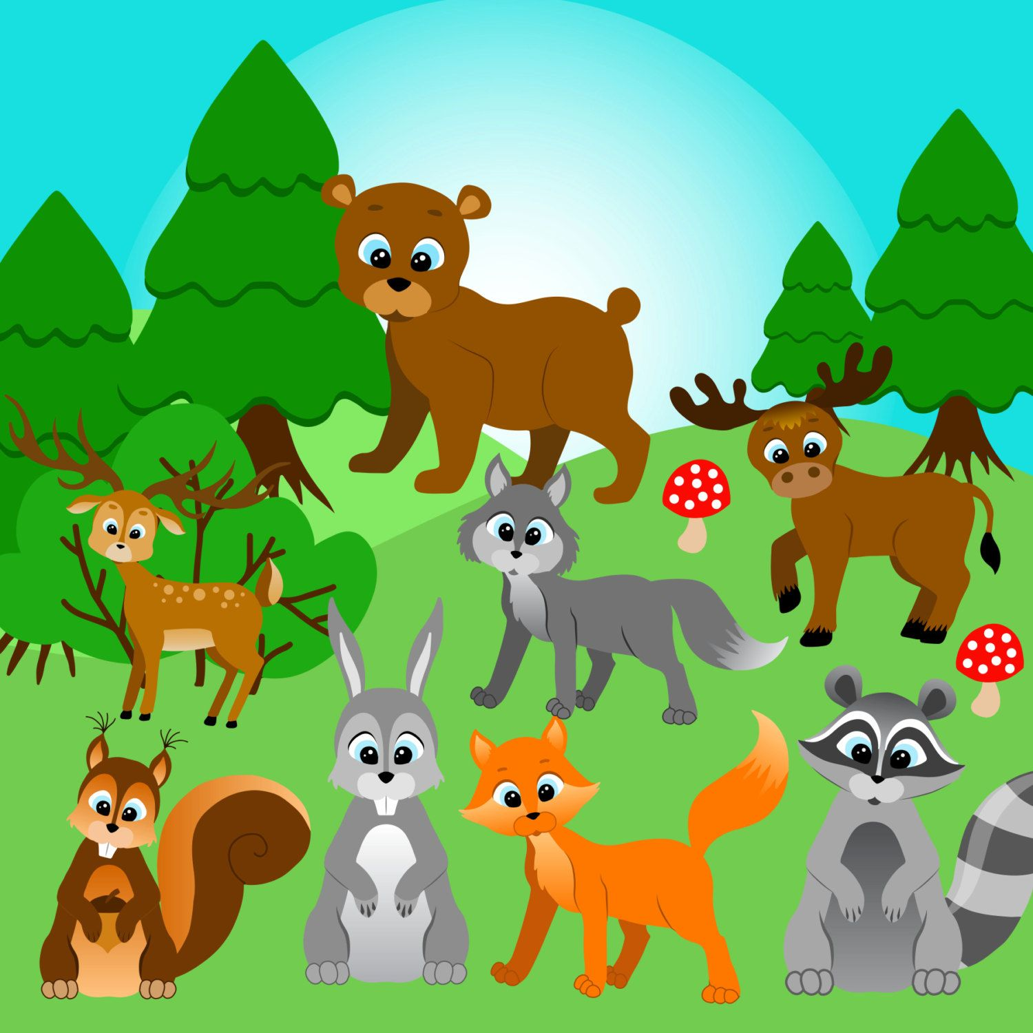 Forest animals clipart Forest clip art Woodland C….