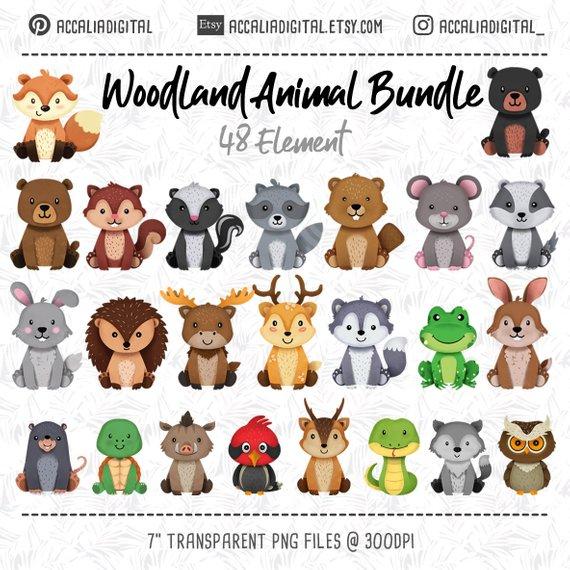 Woodland animals Clipart Bundle, wolf, Fox, Forest Friends.