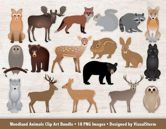 Woodland Animals Clipart Bundle Forest Animal Graphics.