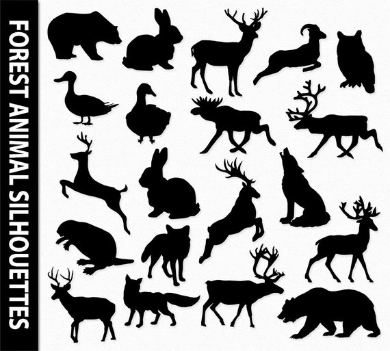 Forest Animals Clip Art Graphic Woodland Clipart Silhouettes.