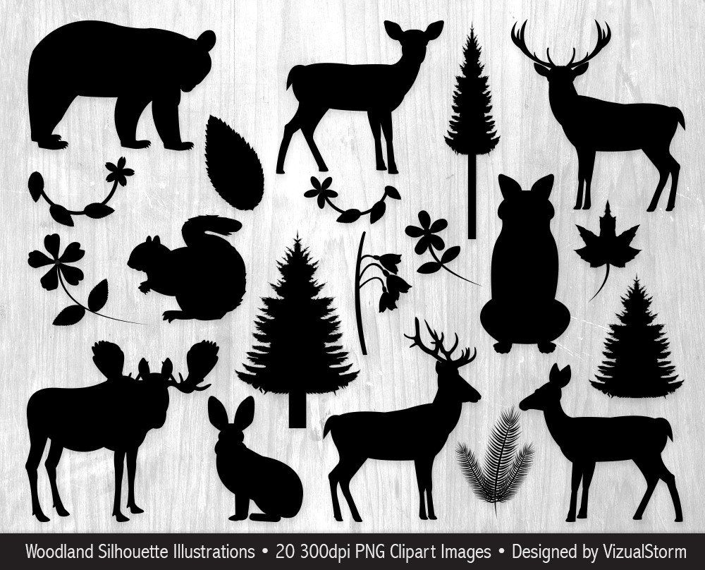 silhouette woodland animals.