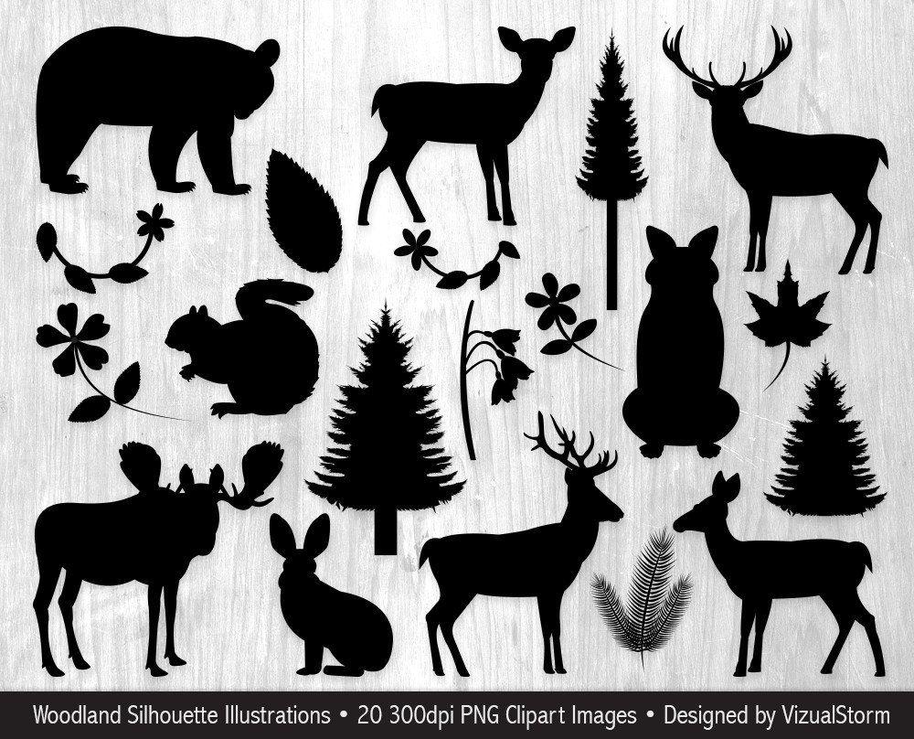 silhouette woodland animals.