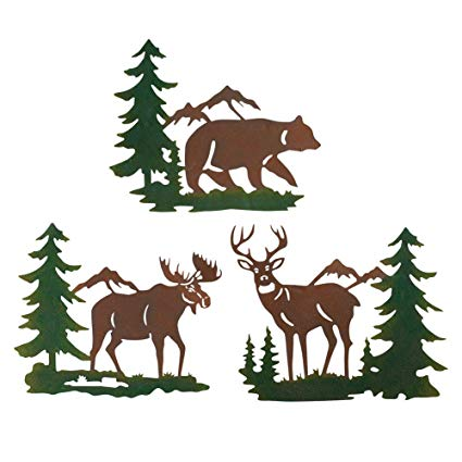Collections Etc Northwoods Woodland Animals and Mountains Metal Wall Art  Trio.