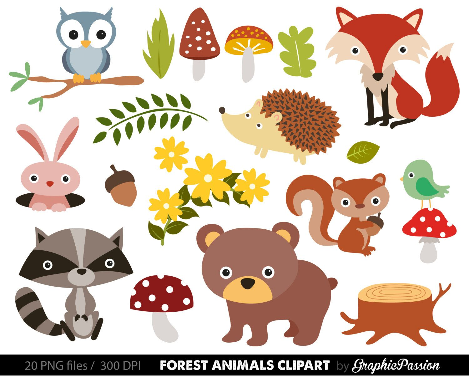 Free Woodland Animal Clipart For Kids.