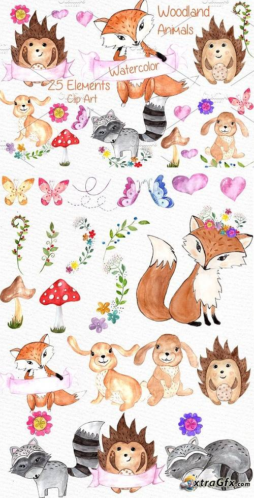 Watercolor woodland animals clipart.