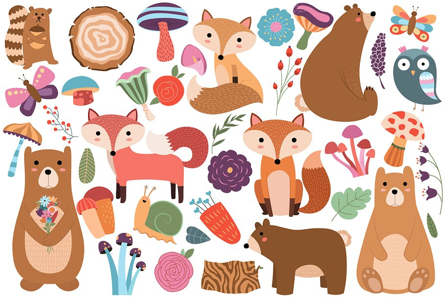 Woodland Animals/Floral Vector & PNG.