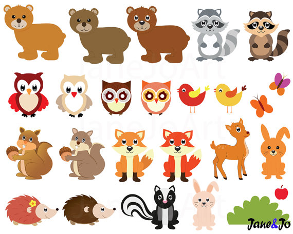 60 Woodland clipart Woodland clip artWoodland animals by.