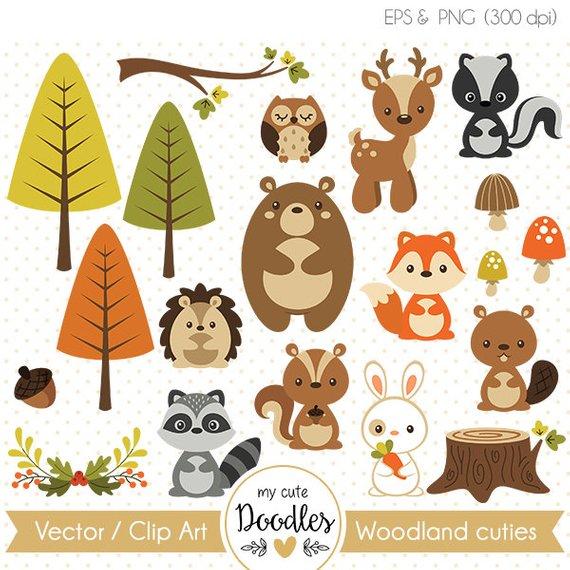 Woodland clipart, cute woodland animal, woodland nursery.