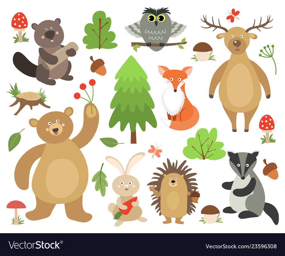 Cute woodland animals beaver fox deer owl bear.