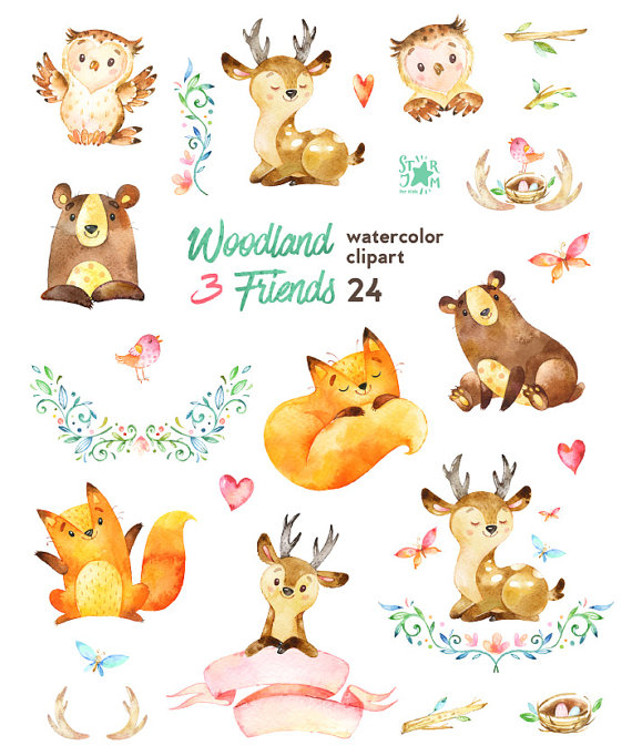 Woodland Friends 3. Watercolor animals clipart, fox, forest.