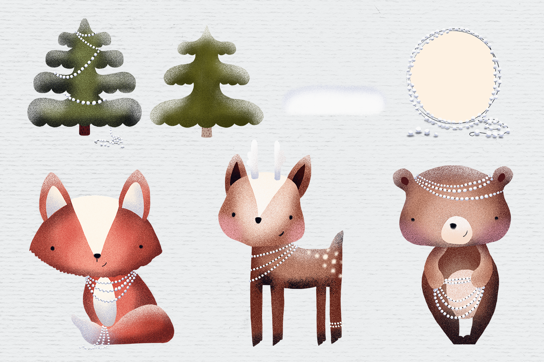 Woodland creatures clipart, winter clipart, animal clipart.