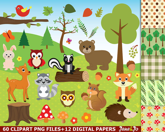 60 Woodland clipart, Woodland clip art,Woodland animals, fox.