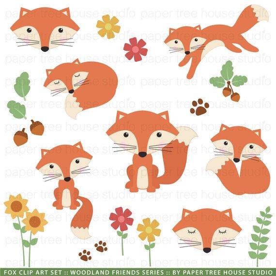 Woodland Clip Art. Forest Clipart. Fox Clip Art. Acorn.