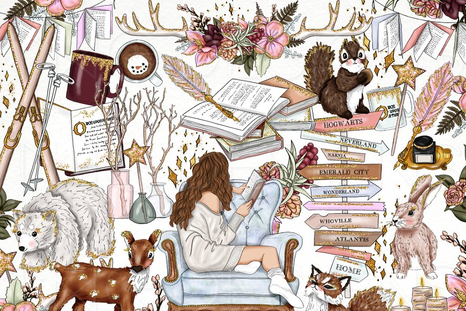 Books Animals Fashion Girl Clip Art.