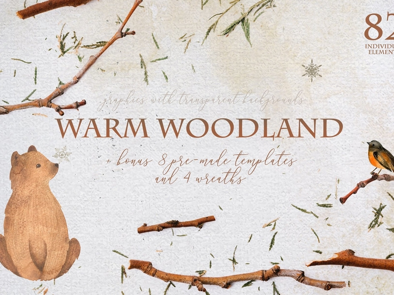 Warm woodland. Animal Watercolor by Graphics Collection on.
