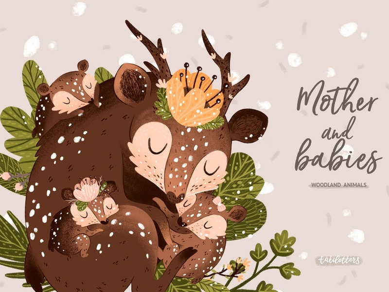 Mother and baby Woodland animals by Graphics Collection on.