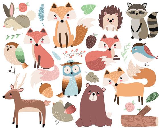 Woodland Forest Animals Clip Art.
