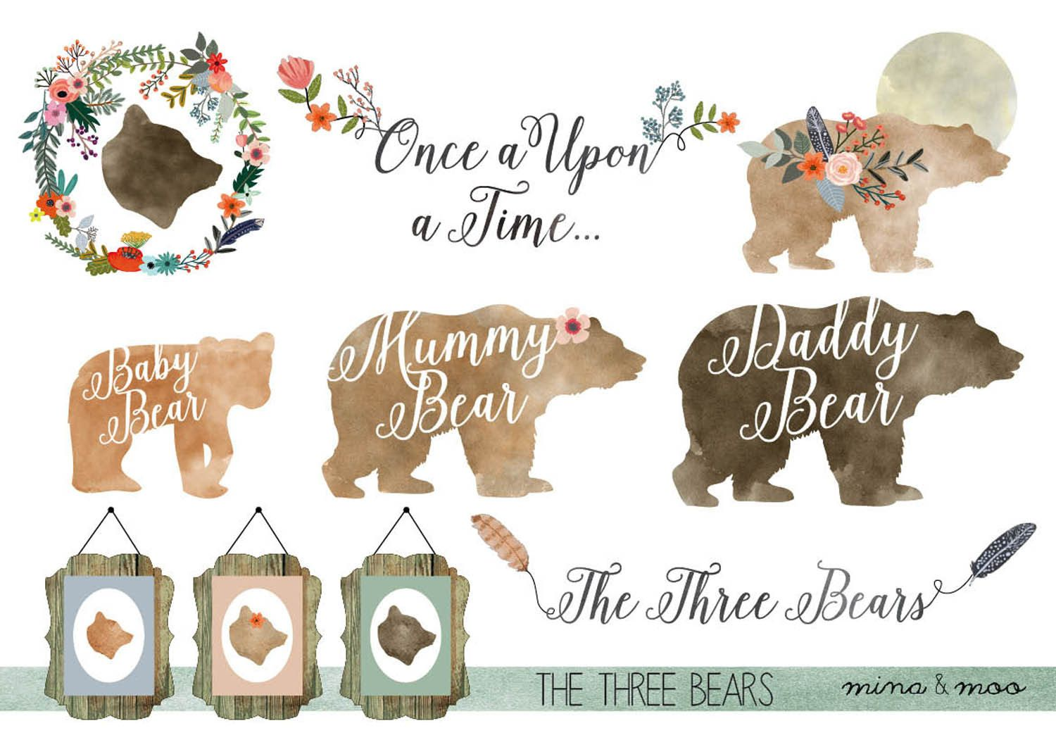 Floral bear clipart, Watercolour woodland clipart, Woodland.