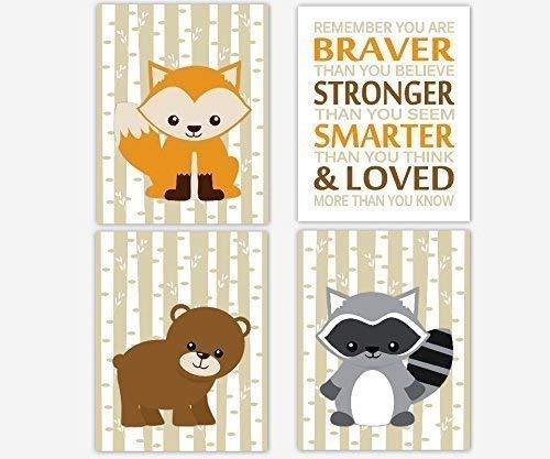Amazon.com: Woodland Animal Baby Boy Nursery Art Fox Bear.