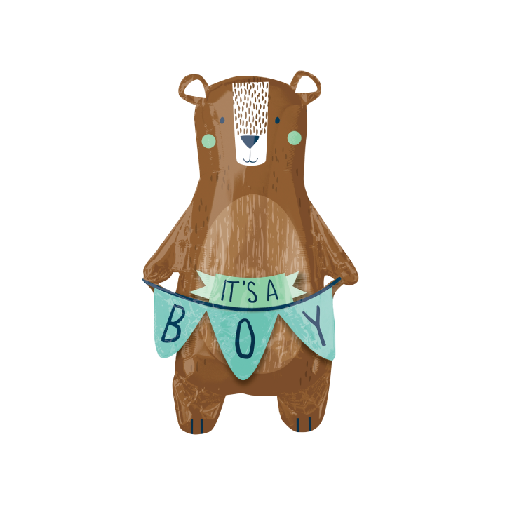 Woodland Bear Baby Boy Balloon.