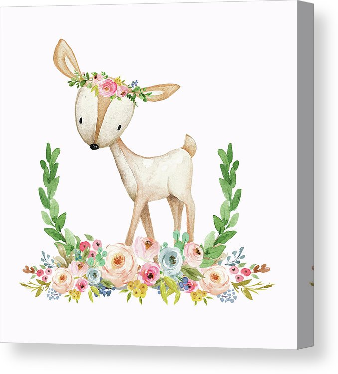 Boho Woodland Baby Nursery Deer Floral Watercolor Print Canvas Print.