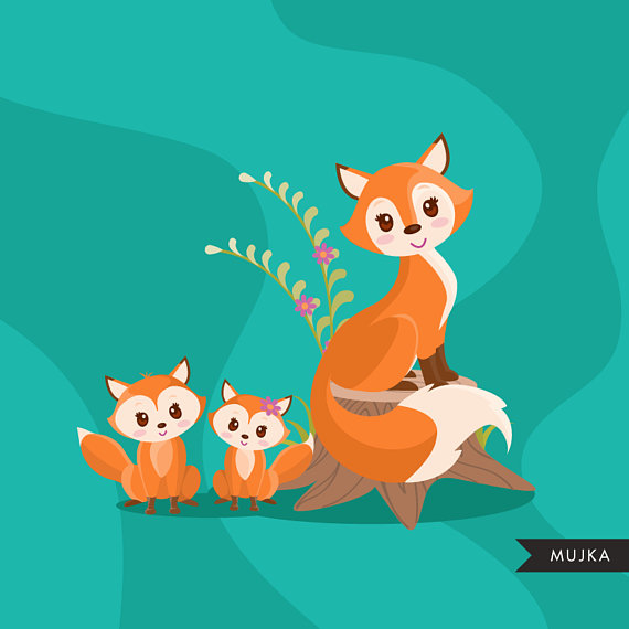 Baby Woodland Fox clipart. Baby fox graphics with cute.