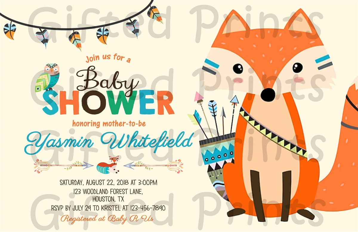 Woodland Baby Shower Invitation Tribal Fox.