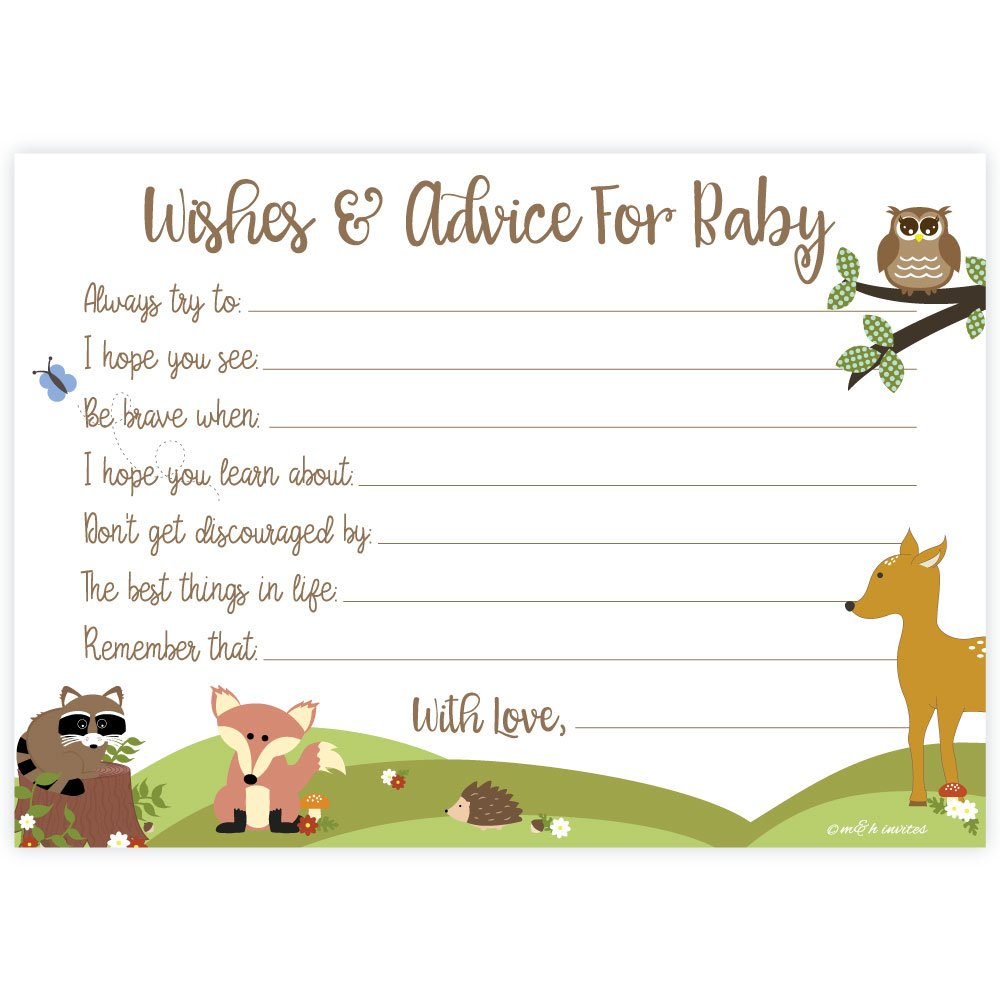 Woodland Baby Shower Wishes and Advice for Baby Cards (50 Count).