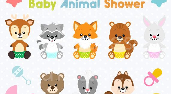 Baby Animal Clipart , Baby Woodland Animals Clipart, Baby shower.