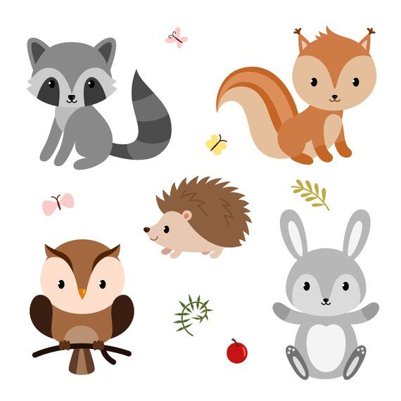 Cute forest animals. Baby shower clipart. Digital clipart. Printable.