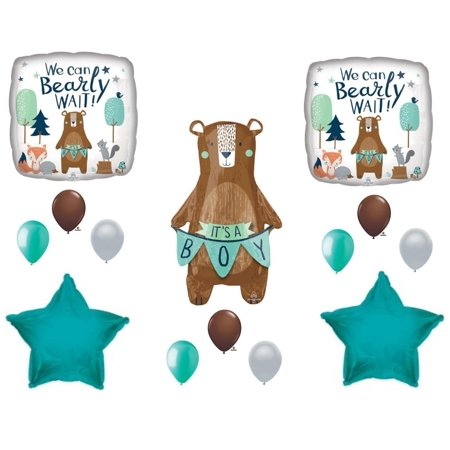 NEW! We Can Bearly Wait Baby It's A Boy Shower Balloons Bear Woodland.