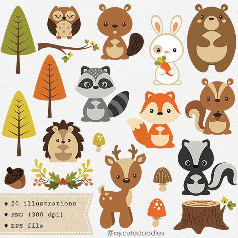 Woodland clipart, cute woodland animal, woodland nursery baby shower  supplies, woodland party decoration, cute fox clipart, baby bear.