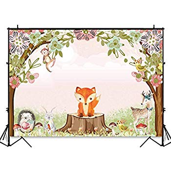 Funnytree 7x5ft Safari Woodland Birthday Party Backdrop Forest Animals  Jungle Theme Photography Background for Baby Shower Spring Flowers  Decorations.