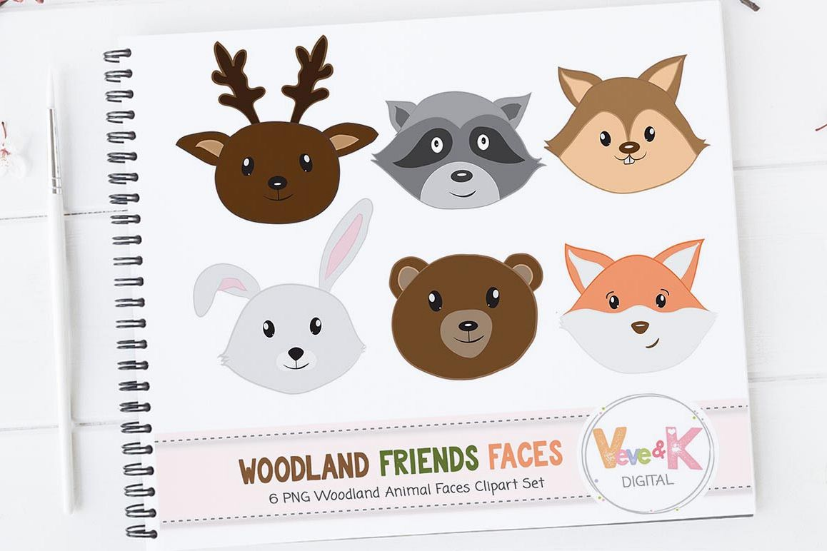 Forest Animals Faces, Woodland Animals Clipart, Deer, Fox, Racoon, Bunny,  Bear, Animal Faces Clipart, Woodland Baby Shower.
