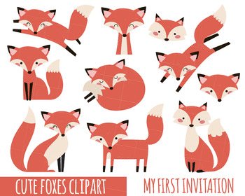 Fox Clipart, Cute Fox Clipart, Baby Shower Clipart, Party Clipart, Woodland  Anim.