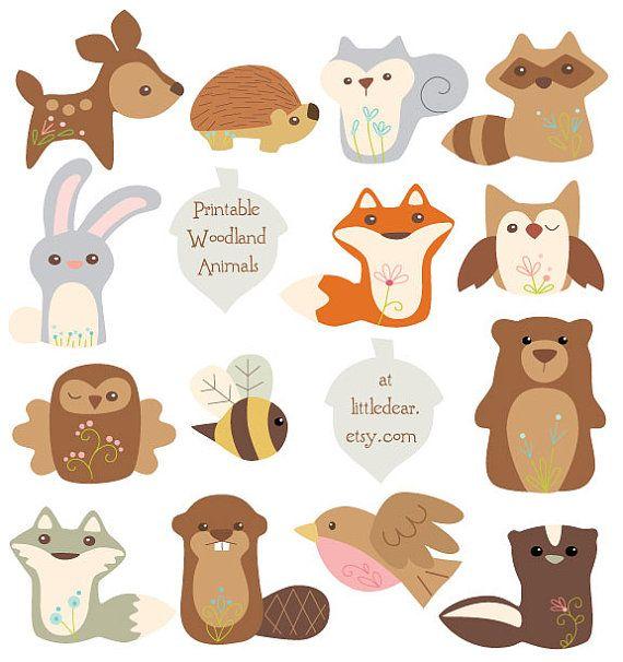 Diy Printable Art Woodland Animals Banner Set Pdf Digital on.